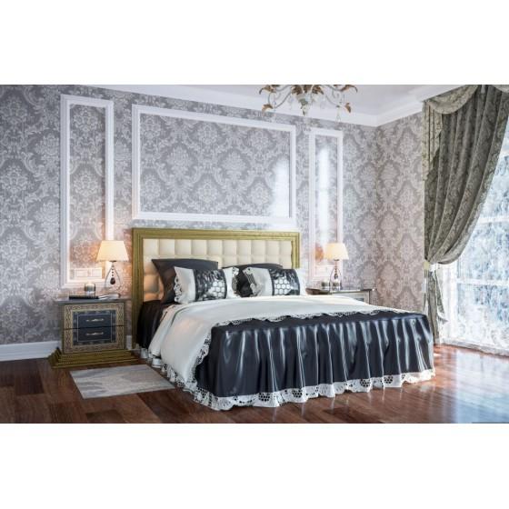 """Спальня """"София люкс"""" с 4Д шкафом и кроватью с мягкой спинкой"""